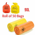 Medium Duty Yellow - Orange Clinical Sacks Waste Collection Disposable Bags Lab
