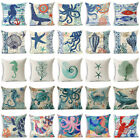 "18""Ocean Sea Animals Cotton Linen Pillow Case Car Cushion Cover Throw Home Decor image"