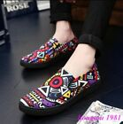Hot  Mens Sneakers Printed Slip On Flats Casual Loafers Driving Moccasin Shoes