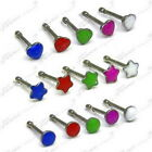 ENAMEL NOSE STUDS SURGICAL STEEL NOSE BONE PIN SET OF 3 or SET OF 5