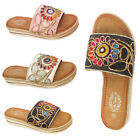 Womens Ladies Flat Wedge Sliders Flatform Slip On Sandals Mules Espadrilles
