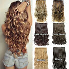 24 one piece clip in hair extensions synthetic full head thick wavy curly hair