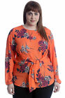 New Womens Plus Size Top Ladies Floral Print Front Tie Blouse Tunic Long Sleeve