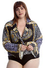 New Womens Plus Size Bodysuit Ladies Abstract Print Crossover Bell Sleeves Style