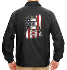 Men's Guitar American Flag Black Windbreaker Jacket USA July 4 Music Patriotic