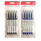 5 x HOME & OFFICE BLACK BLUE DELUXE QUALITY GEL FINE BALLPOINT ROLLERBALL PENS