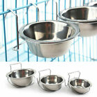 Stainless Steel Pet Hanging Bowl Feeding Dog Cat Bird Parrot Food Water Cage Cup
