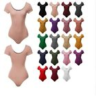 FashionOutfit Women's Solid Cotton Based Scoop Front & Back Cap Sleeves Bodysuit