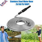 25 50 75 100Ft Stainless Steel Metal Garden Water Hose Lightweight Flexible Pipe