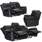 XeoHome RECLINER SOFAS FABRIC 3+2+1 BLACK BROWN 3 PIECE SUITE SOFA COUCH SALE