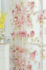 Custom French Country Floral Rose Printing Sheer Voile Tulle Curtain Panel