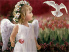 DIY Paint By Number Frame Paiting On Canva 16X20'' Little Angel in Tulips Garden
