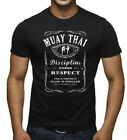 Men's Muay Thai Whiskey Label Black T Shirt MMA Fighting Kickboxing Gym Karate