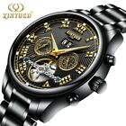 KINYUED Skeleton Automatic Flying Tourbillon Leather/Steel Strap Mechanical Watc