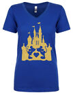 mickey minnie mouse glitter womens ladies v neck shiort sleeve disney tee shirt