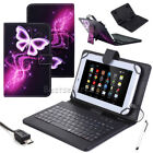 """For 10""""10.1"""" Tablet Purple butterfly Micro USB Wired Keyboard Folio Leather Case"""
