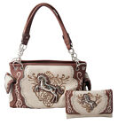 Horse Handbag Western Cowgirl Concealed Carry Shoulder Bag Purse Wallet Set