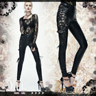 Goth aristocrat madam Rose floral lace side strap faux leather pants【PT064】