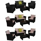 Mylor 4 Seater Garden Rattan Furniture Set Patio Outdoor Brown Black Sofa Ukfr