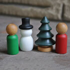 10x Unfinished Wooden Peg Dolls Christmas Tree Snowman Cake Topper DIY Craft Toy