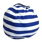 Kids Stuffed Animal Toys Cotton Stripe Bean Bag Storage Pouch Soft Fabric Chairs