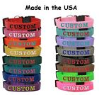 Custom Embroidered Personalized Dog Pet collars Adjustable Nylon Made in the USA