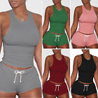Women 2Piece Set Crop Top and Shorts Bodycon Outfit Short Sp