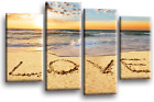 LARGE RED GREY WHITE CANVAS WALL PICTURE SEA SUNSET BEACH 112cm SET 3