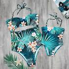 Mother Daughter Girl Tropical Palm Leaf Floral Print One Piece Hollow Swwimsuit