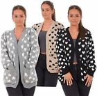 New Ladies Heart Knitted Cardigan Pockets Long Sleeve Regular Big Sizes S to 3XL