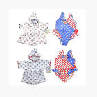 New Baby Buns Toddler Girls One Piece Swimsuit Patriotic Set with Matching Robe