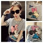 Disney MICKEY MINNIE MOUSE Striped Cute Short Sleeve T Shirt Tee Top Plus Size