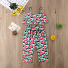 Toddler Kids Girls Clothes Flamingo Camisole Tops+Pants Flor