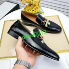 Men Bee Embroidery Real Leather Metal Buckle Formal Shoes slip on Driving Loafer