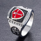 Men Boys Red Shield- Silver Cross Christian Ring-Knight Templar- Silver Alloy
