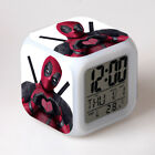Deadpool Super Hero Alarm Clock 7-Color Changing Nightlight Clock in Box Gift