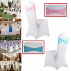 50/100 Spandex Stretch Chair Cover Sash Bow Wedding Buckle Slider Sashes LOT ME
