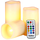 Electric Candles - 3 x Flameless Battery Operated Real Wax Pillars - 12 LED