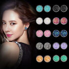 Chic Women Round Ear Stud Stainless Steel Glitter Rhinestone Earring Jewellery