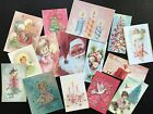 BB65 Lot of 15 Adorable VINTAGE CHRISTMAS GREETING DIE CUTS for crafts making