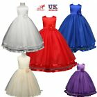 UK Kids Girls Flower Bridesmaid Party Princess Prom Wedding Christening Dresses