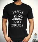 Pugs Not Drugs Cute T shirt Funny Animal Dog Lover Tee Men Women Unisex Gift Top
