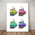 Tram Collage Drawing Painting Melbourne Australia Home Decor Art Poster Print