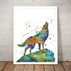 Lone Wolf Howling Drawing Painting Watercolour Home Decor Art Poster Print