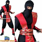 Ninja Master Oriental Samurai Warrior Red Adults Mens Fancy Dress Costume
