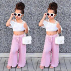 2Pcs Kids Girls Lace Stripes Off Shoulder Crop Top Pants Outfits Clothes Canis