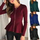 Womens Sexy Casual Long Sleeve Tops Autumn Pullover Jumper Blouse Zip T Shirt US
