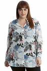 New Womens Plus Size Shirt Ladies Floral Butterfly Top Button Long Sleeves Ban