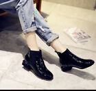 Ladies Womens Cuban Heels Riding Ankle Boots Casual Patent Leather Shoes Winter