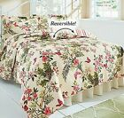 Butterflies Reversible Quilt Set Flowers Bedspread Bedding Cotton Beautiful NEW image